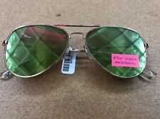 BETSEY JOHNSON Flat Aviator Sunglasses, Gold Rims, Gold Pink Green Lens, NWT
