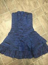 THE VESTRY SIZE 10 BLUE STRAPLESS PARTY PLEATED BONED CORSET DRESS