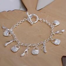 beautiful Fashion 925 sterling silver Plated charms shoe women bracelet  H108