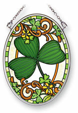 "AMIA STAINED GLASS SUNCATCHER 3.25"" X 4.25"" OVAL IRISH SHAMROCK   #41455"