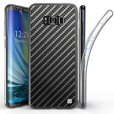 For Samsung Galaxy S8 Plus,Tri Max Transparent Full Body Case Cover CARBON FIBER