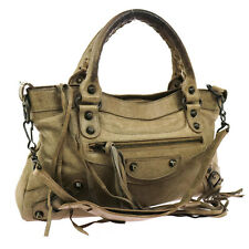 Authentic BALENCIAGA The First 2way Hand Bag Beige Leather Italy Vintage V08540