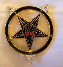 NWO Illuminati Secret Agent ID Badge Pin Pentagram Baphomet Zodiac Occult Sigil