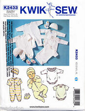 KWIK SEW SEWING PATTERN 2433 BABY SZ XS-XL JUMPSUITS, ROMPERS, CAP/HAT & BOOTIES