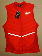 NWT MENS M NIKE RUNNING AEROLOFT 800 GOOSE DOWN RED FULL ZIP VEST JACKET $180
