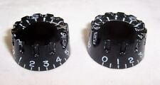 PAIR OF NOTCHED EDGE SPEED KNOBS / VINTAGE IBANEZ ETC/ BLACK