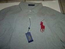 BIG MENS RALPH LAUREN GREY W/BURGANDY LG PONY S/S POLO SHIRT SIZE 3X $110