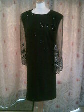 Drag Queen Black sequin SHORT dress with black/silver glitter sleeves 20/22