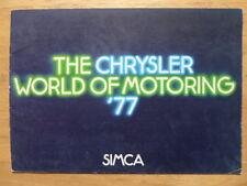SIMCA RANGE 1977 UK Mkt Sales Brochure - 1000 1100