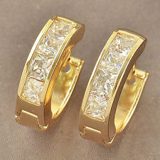 Delicate Womens 9k Yellow Gold Filled Cubic Zirconia Hoop Earrings F3853
