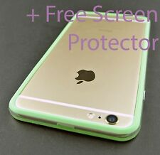 GREEN CLEAR HARD TPU GEL PC HYBRID BUMPER CASE COVER FOR APPLE IPHONE 6 6S PLUS