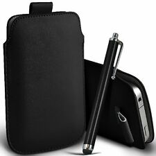 Black Soft PU Leather Pull Tab Case Cover & Pen For Nokia 222