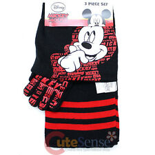 Disney Mickey Mouse Kids Beanie Gloves and Scarf Set : Black Red One size