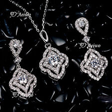 18K WHITE GOLD GF SWAROVSKI CRYSTAL PENDANT NECKLACE STUD EARRINGS WEDDING SET