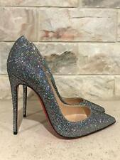 NIB Christian Louboutin So Kate 120 Silver Glitter Disco Ball Heel Pump Shoe 37