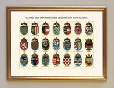 Wappen Ungarn Österreich Tirol Böhmen Schlesien K&K Faksimile 10 im Goldrahmen