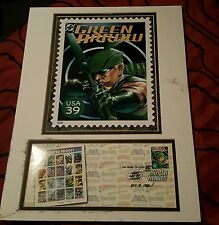 2006 FIRST DAY ISSUE GREEN ARROW STAMP & 8x10 COMPOSITE/OLIVER QUEEN/JLA
