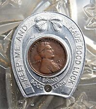 1916-P KEEP ME AND NEVER GO BROKE LUCKY HORSESHOE ENCASED WHEAT CENT...#12376