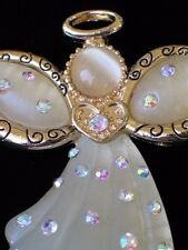 NWT KC RESIN AB RHINESTONE MOON STONE CATS EYE HALO ANGEL PIN BROOCH JEWELRY 2""