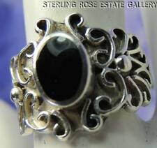 ONYX SCROLL WORK STURDY STERLING SILVER 0.925 ESTATE BAND RING size 6.25