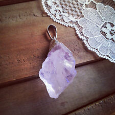Large Raw Cut Natural ROSE Quartz Chuck Pendant with Silver Plating Gemstone