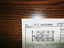 1972 Ford Mustang EIGHT Series Models 266HP BOSS HO 351 C V8 4BBL Tune Up Chart