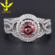 Estate Genuine Tourmaline Solid 14k White Gold Natural Diamond Engagement Ring