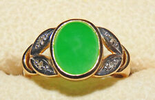 Antique 14 K Yellow Gold Green Jade Diamond Ring  S 8