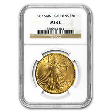 1907 $20 Saint-Gaudens Gold Double Eagle Coin - MS-62 NGC - SKU #34089