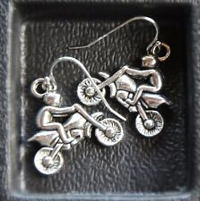 925 sterling silver earrings pewter Dirt Bike charm motorcycle motocross biker