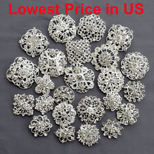 24 pcs Mixed Alloy Sliver Rhinestone Crystal Brooches Pins DIY Wedding Bouquet