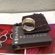"SILPADA - R3363 - Brass Sterling Silver ""Go for a Spin"" Ring Sz 10"