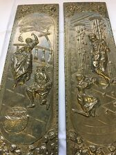 """Vintage Brass """"ELPEC"""" Raised Relief Pair Wall Plaques 14"""" England Mid Century"""