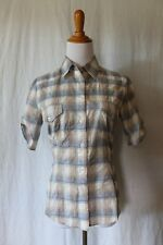 KRIZIA button front blue plaid short sleeve western shirt Made in Italy 38 2 XS