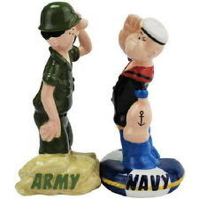 Popeye and Beatle Bailey Army Navy Salute Ceramic Salt & Pepper Shakers Set NEW