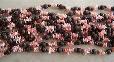 "54"" Long Strand Pink Bamboo Coral Branch & Wood Round Beads 6mm-10mm Necklace"