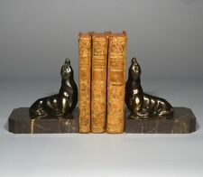 """VintageFrenchArt Deco Spelter and Marble Bookends, """"Seals"""""""