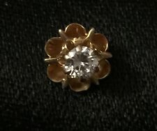 14K Solid Yellow Gold Single Stud Earring Diamond ONE 0.2 TCW Vintage SALE