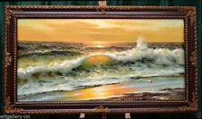 "EXTRA LARGE SEASCAPE ""GODEN SEA SURF"" LISTED ARTIST OIL PAINTING MUSEUM QUALITY"
