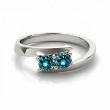 1 Cts Blue VS2-SI1 2 Stone Diamond Solitaire Engagement Ring 14k White Gold
