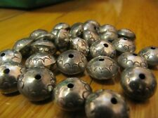 VINTAGE STERLING SILVER BENCH BEADS(12) 1/2'' 12MM STAMPED,LIGHT PATINA #8