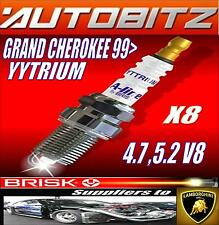 For JEEP GRAND CHEROKEE 4.7 5.2 V8 BRISK SPARK PLUGS X8 YYTRIUM Fast Dispatch