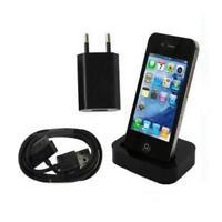 3in1 Dockingstation mit Netzteil Ladekabel Datenkabel Dock iPhone 4 4S - Schwarz