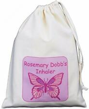 Personalised Butterfly - Asthma Inhaler & Spacer bag 25x35cm drawstring EMPTY