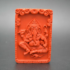Carved Natural Red Cinnabar Ganesha Buddha Elephant Stone Pendant Jewelry