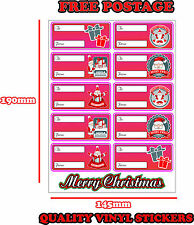 CHRISTMAS PRESENT LABELS SANTA CLAUS GIFT WRAP TAGS TO AND FROM STICKER PINK