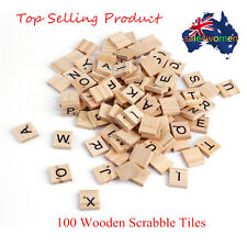 100 Wooden Alphabet Scrabble Tiles Black Letters & Numbers For Crafts Wood S##