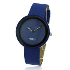 Hotcakes Avant-garde Charm Men Boy sport Quartz Wrist Watch Dark Blue PU Leather