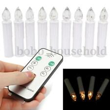 10 Wireless LED Flameless Christmas Tree Battery Candle Light Remote Control Wax