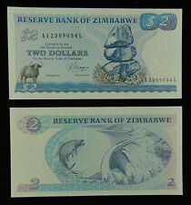 ZIMBABWE PAPER MONEY 2 DOLLARS 1983 UNC